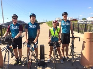 Dirk, Daniel, Stacy, and Kevin ride the last bit to the Bathedral in St. Louis on July 15